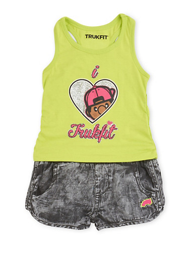 Baby Girl Trukfit Graphic Tank Top and Denim Print Jogger Shorts,LIME,large