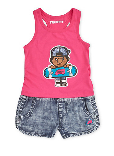 Baby Girl Trukfit Graphic Tank Top and Chambray Shorts Set,FUCHSIA,large