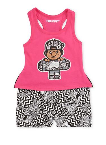 Baby Girl Trukfit Glitter High Low Tank Top and Chevron Print Shorts,FUCHSIA,large