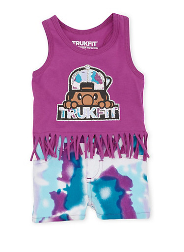 Baby Girl Trukfit Fringed Tank Top and Shorts Set,PURPLE,large
