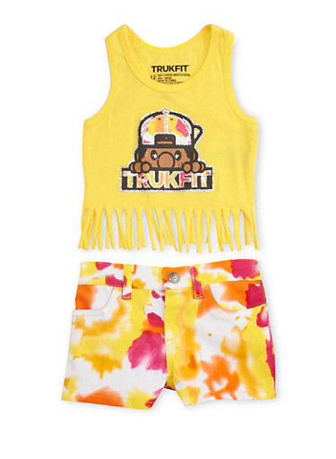 Baby Girl Trukfit Tank Top and Shorts Set,YELLOW,large