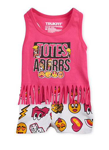 Baby Girl Emoji Graphic Fringe Tank Top and Shorts Set with Totes Adorbs Print,FUCHSIA,large