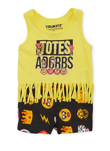 Baby Girl Trukfit Fringed Tank Top and Shorts Set,YELLOW,large