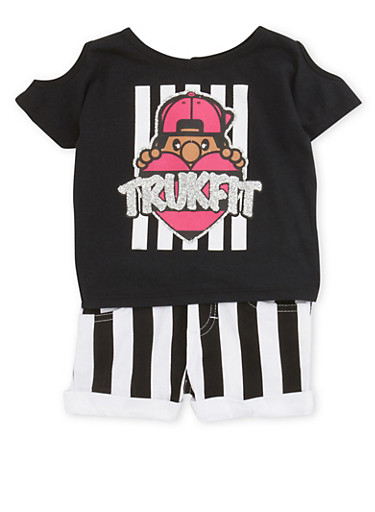 Baby Girl Trukfit Cold-Shoulder Top and Striped Shorts Set,BLACK,large