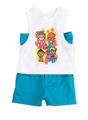 Baby Girl Trukfit Graphic Tank Top with Shorts Set,TURQUOISE,large