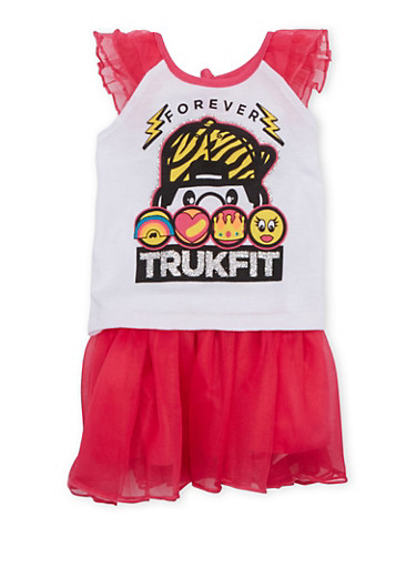 Baby Girl Trukfit Top and Tutu Set,FUCHSIA,large