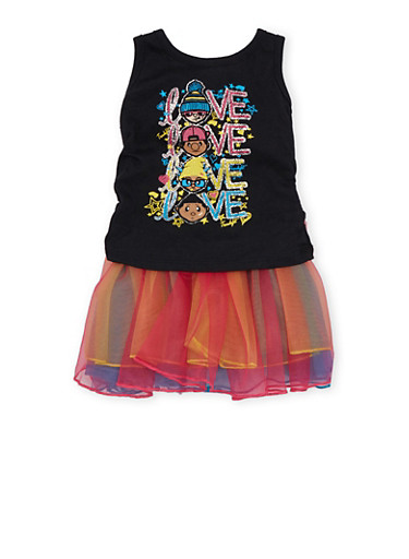 Baby Girl Trukfit Love Graphic Tank Top with Layered Tutu Skirt,BLACK,large