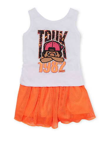 Baby Girl Trukfit Tank Top and Skirt Set with Glitter Logo Graphic,ORANGE,large