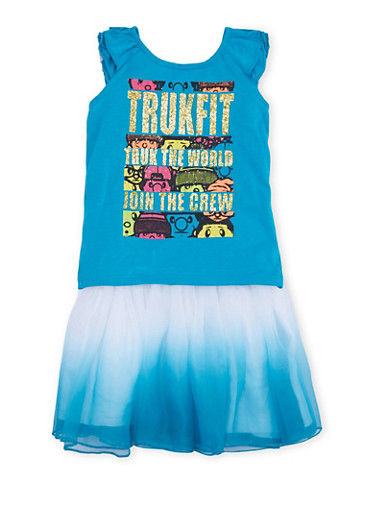 Baby Girl Trukfit Graphic Top with Ombre Tutu Set,TURQUOISE,large