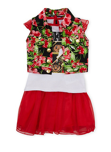 Baby Girl Trukfit Graphic Top with Vest and Skirt Set,RED,large