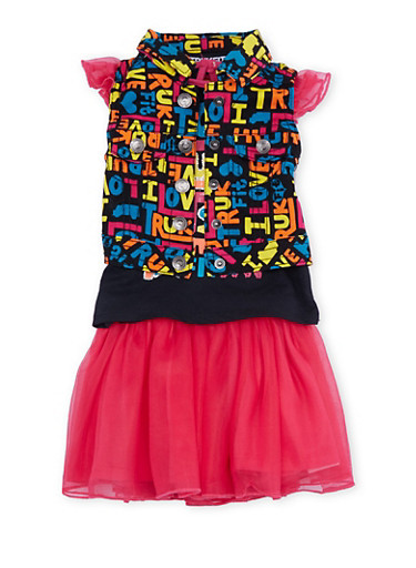 Baby Girl Trukfit Denim Vest and Top Set with Tulle Tutu,FUCHSIA,large