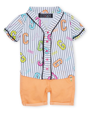 Baby Girl Coogi Striped Top and Cuffed Shorts with CG Print,CORAL,large