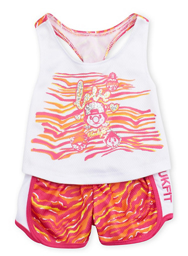 Baby Girl Trukfit Tank Top and Shorts Set with Glitter Love Print,WHITE,large