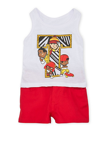 Baby Girl Trukfit Graphic Tank Top and Shorts Set,RED,large