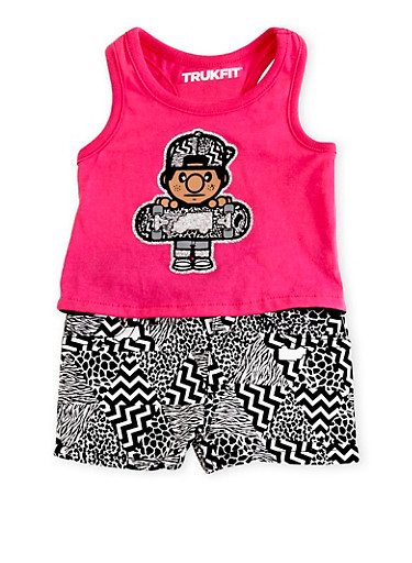 Baby Girl Trukfit High Low Tank Top and Shorts with Mixed Chevron Print,FUCHSIA,large