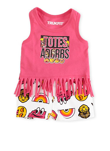 Baby Girl Trukfit Emoji Print Fringe Tank Top and Shorts with Totes Adorbs Graphic,FUCHSIA,large