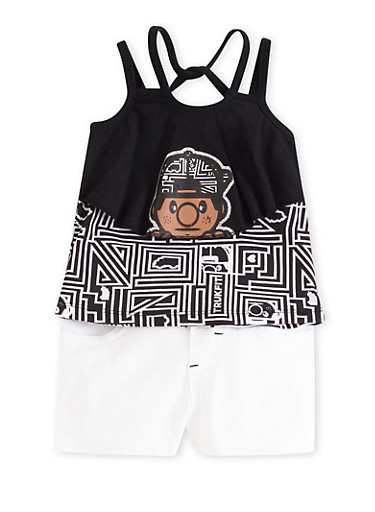 Baby Girl Trukfit Popover Tank Top and Shorts Set with Maze Print,BLACK,large