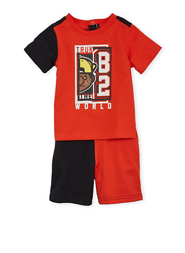 Baby Boy Trukfit Colorblock T-Shirt and Shorts Set,RED,large