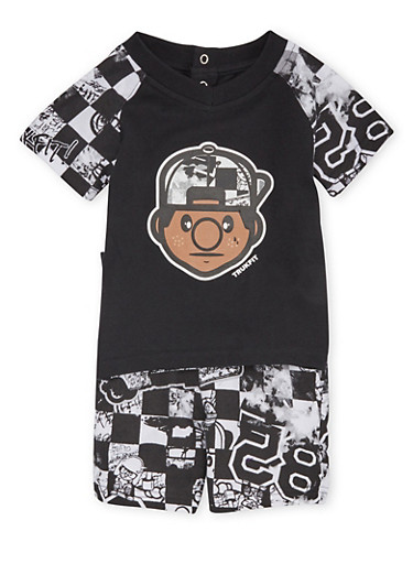 Baby Boy Trukfit Graphic T-Shirt and Printed Shorts Set,BLACK,large