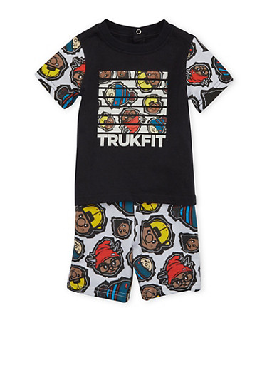 Baby Boy Trukfit Graphic T-Shirt and Shorts Set,BLACK,large