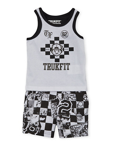 Baby Boy Trukfit Graphic Tank Top and Shorts Set With Graffiti Checker Print,BLACK,large