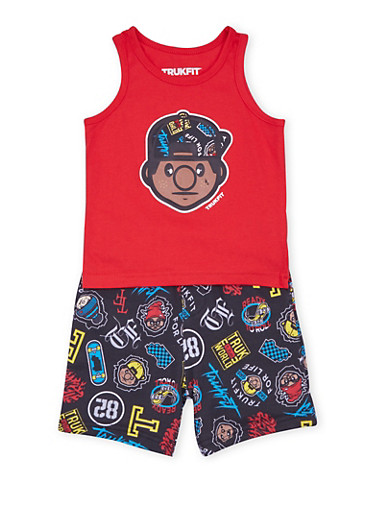 Baby Boy Trukfit Ready to Roll Print Tank Top and Shorts,BLACK,large