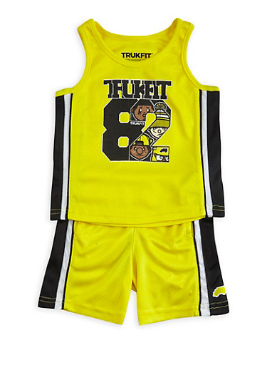 Baby Boy Trukfit Tank Top and Shorts Set with Trukfit 82 Graphic,YELLOW,large