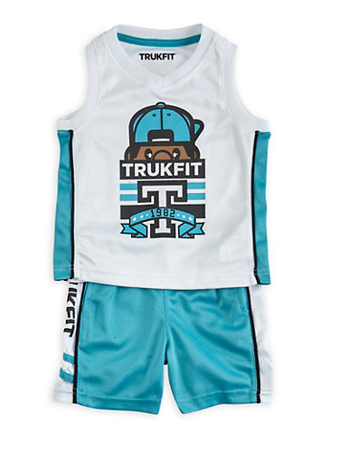 Baby Boy Trukfit Mesh Tank Top and Shorts Set with Tommy Graphic,TURQUOISE,large