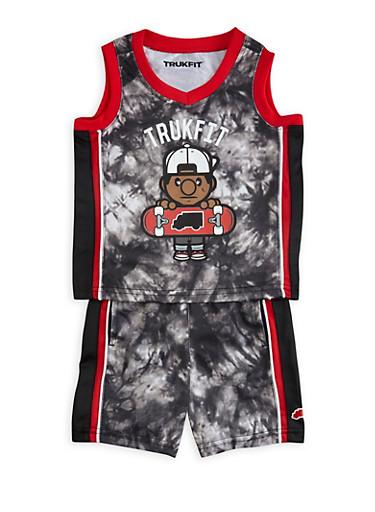Baby Boy Trukfit Printed Tank Top and Shorts Set,BLACK,large