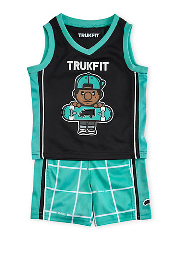Baby Boy Trukfit Tank Top and Shorts Set with Tommy Graphic,TURQUOISE,large