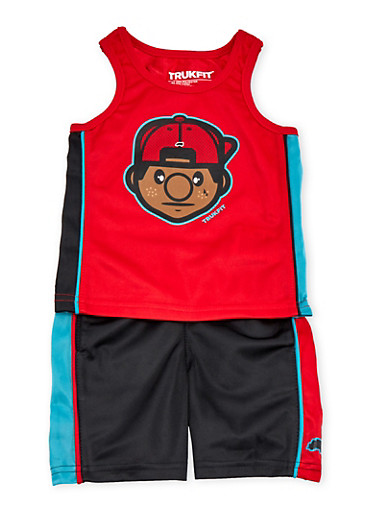 Baby Boy Trukfit Tank Top and Shorts Set,RED,large