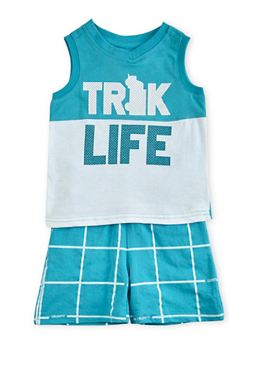 Baby Boy Trukfit Tank Top and Shorts Set with Truk Life Graphic,TURQUOISE,large
