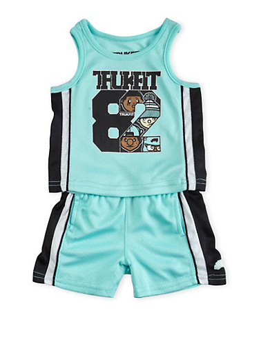 Baby Boy Trukfit Tank Top and Shorts Set with Trukfit 82 Graphic,TURQUOISE,large