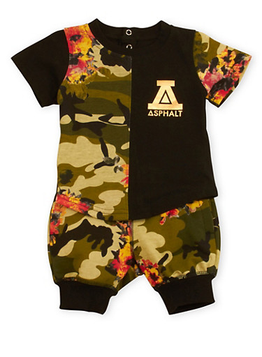 Baby Boy Graphic Shirt and Joggers Set with Floral Camouflage Print,BLACK,large