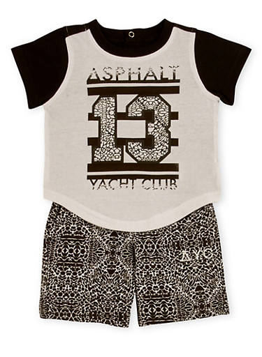 Baby Boy Athletic T Shirt and Shorts Set,WHITE,large