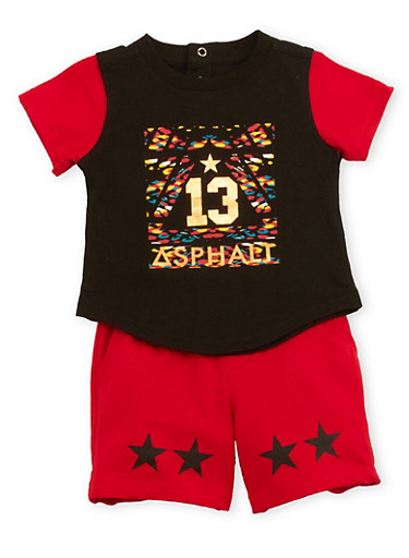Baby Boy Asphalt Graphic Tee and Shorts Set,BLACK,large