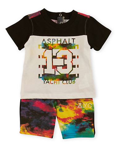 Baby Boy Asphalt Colorblock T-Shirt and Shorts Set,WHITE,large
