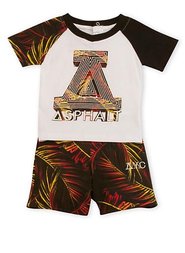 Baby Boy Patterned T-Shirt and Knit Shorts Set,WHITE,large