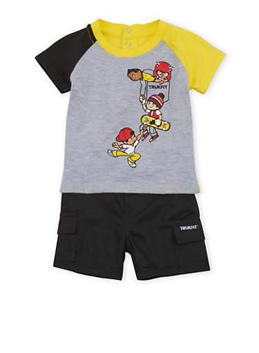 Baby Boy Trukfit Skateboarder Graphic Top with Shorts Set,BLACK,large