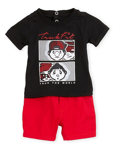Baby Boy Trukfit Graphic T-Shirt and Shorts Set,RED,large