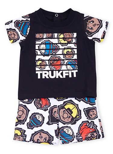 Baby Boy Trukfit Graphic Tank Top and Shorts Set,BLACK,large