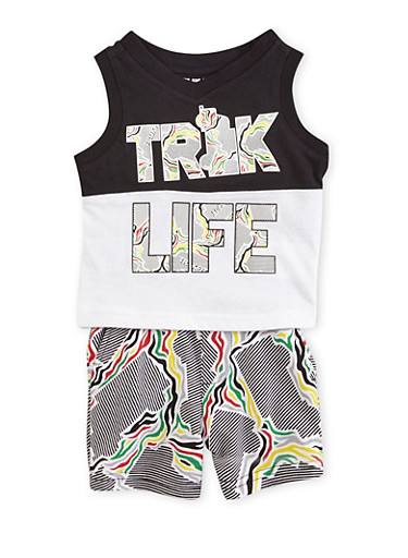 Baby Boy Trukfit Truk Life Graphic Top with Shorts Set,BLACK,large