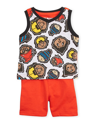 Baby Boy Trukfit Graphic Tank Top and Shorts Set,RED,large