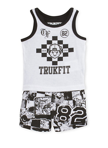 Baby Boy Trukfit SK8 GR8 Top with Shorts Set,BLACK,large