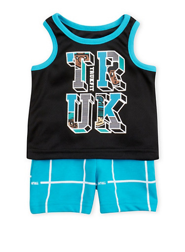 Baby Boy Trukfit Sporty Jersey Tank Top and Shorts Set,TURQUOISE,large