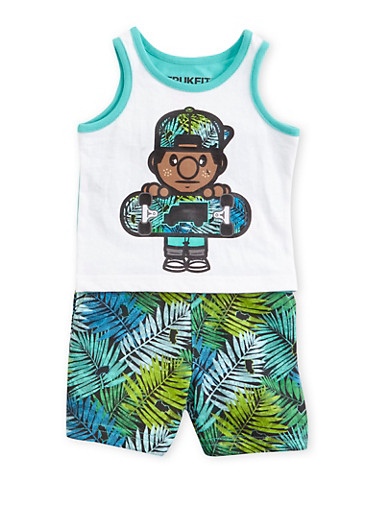 Baby Boy Trukfit Skateboarder Top with Shorts Set,TEAL,large
