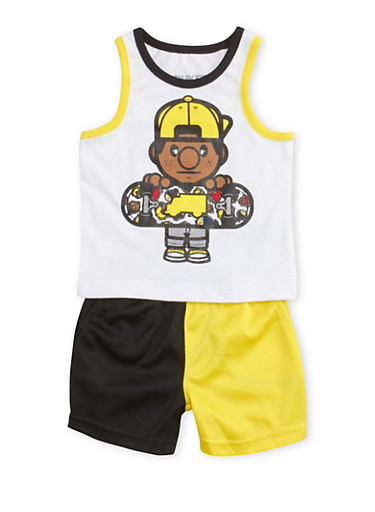 Baby Boy Trukfit Graphic Tank Top and Mesh Shorts Set,YELLOW,large