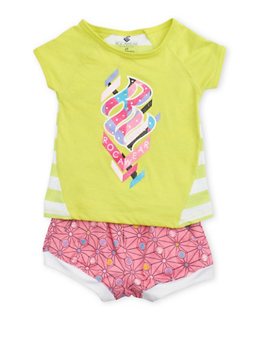 Toddler Girls Rocawear Logo Top and Shorts Set,LIME,large