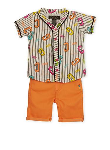 Toddler Girl Coogi Baseball Shirt and Shorts Set,CORAL,large