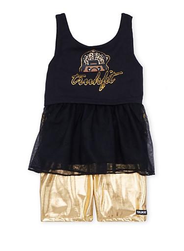 Toddler Girls Trukfit Glitter Tank Top and Metallic Biker Shorts,BLACK,large